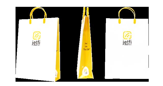 通信機器販売会社様の紙袋の事例を紹介します【B-157】