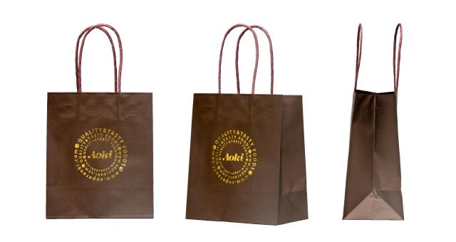 スーパーマーケット様の箔押しオリジナル紙袋の制作事例