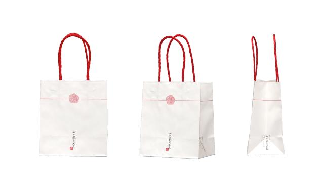 和菓子店様の紅白なオリジナル紙袋の制作事例