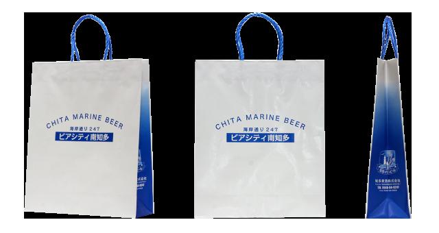ビアレストラン様の海を思わせる爽やかなオリジナル紙袋の制作事例