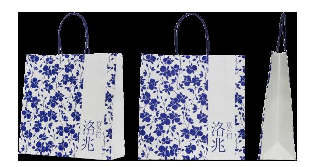 旅館様の花柄のオリジナル紙袋の制作事例