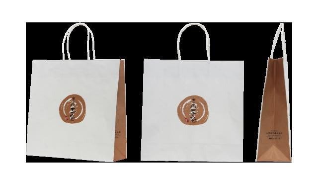 食品販売会社様の正方形のオリジナル紙袋の制作事例