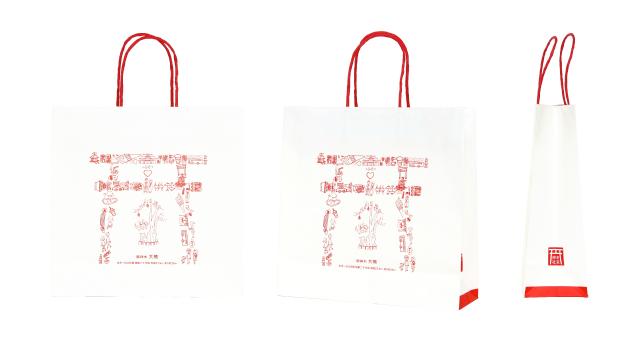 【紅白でイラスト】神社様のオリジナル紙袋の制作事例